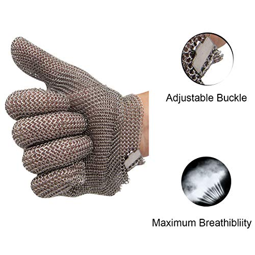 Schwer Stainless Steel Metal Mesh Chainmail Cut Resistant Glove for Food Handling, Meat Cutting Butchers Slicing Chopping Restaurant Work Safety(M) by Schwer (Image #4)