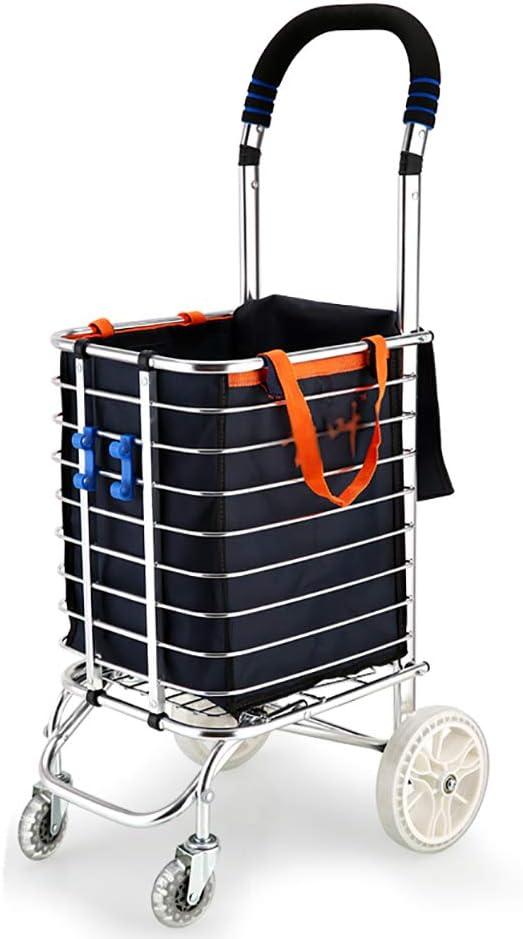 ショッピングカート 取り外し可能なタパリンバッグと頑丈なアルミ構造の折り畳み式ショッピングカートライト階段マウンテンバイク食料品実用カート. (設計 : C)
