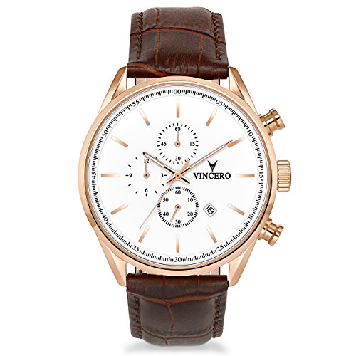 Vincero Luxury Men's Chrono S Wrist Watch — Rose Gold with Brown Leather Watch Band — 43mm Chronograph Watch — Japanese Quartz - Glasses Mvmt
