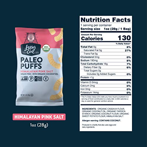 LesserEvil Grain Free Vegan Paleo Puffs, Himalayan Pink Salt, 1 Ounce, 24 Count