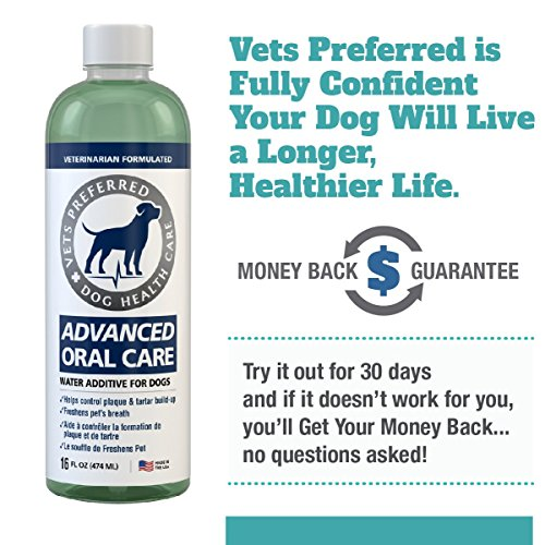 Vets Preferred Dog Breath Freshener Water Additive - Fights Bad Breath, Removes Plaque and Tartar, Prevents Gum Disease - Dog Mouthwash with mild Mint Flavor