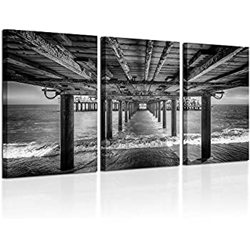 Kreative Arts - Under The PIER Premium Canvas Art Print Black and White Large Seascape Wall Art Deco Canvas Picture Stretched on Wooden Frame as Modern Gallery Artwork