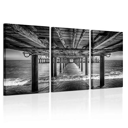 Kreative Arts - Under The PIER Premium Canvas Art Print Black and White Large Seascape Wall Art Deco Canvas Picture Stretched on Wooden Frame as Modern Gallery Artwork Ready to Hang (Print Deco Canvas Art)