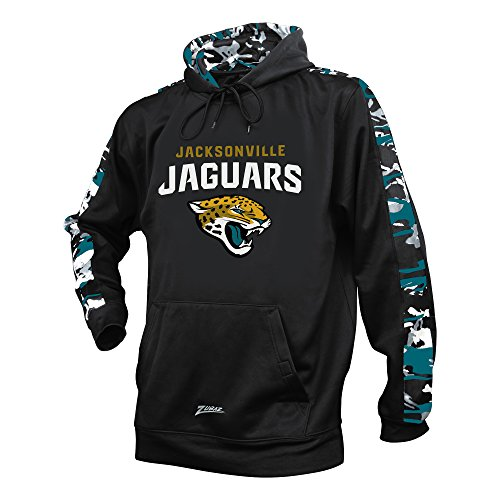 Zubaz NFL Jacksonville Jaguars Men's Camo Print Accent Team Logo Synthetic Hoodie, Medium, Black