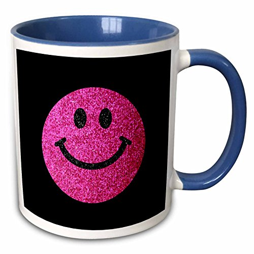 3dRose InspirationzStore Smiley Face Collection - Hot pink girly smiley face glittery texture graphic - not actual glitter or sparkles on groovy black - 15oz Two-Tone Blue Mug (mug_123157_11)