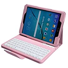 NEWSTYLE Magnetically Detachable Wireless Bluetooth Keyboard Folio PU Leather Case Cover for Samsung Galaxy Tab S2 9.7-inch Tablet, Pink