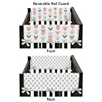 Sweet-Jojo-Designs-2-Piece-Grey-Coral-and-Mint-Woodland-Arrow-Teething-Protector-Cover-Wrap-Baby-Crib-Side-Rail-Guards