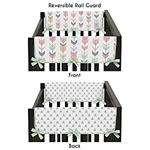 Sweet Jojo Designs 2-Piece Grey, Coral and Mint Woodland Arrow Teething Protector Cover Wrap Baby Crib Side Rail Guards