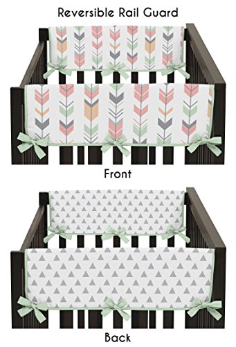 Sweet-Jojo-Designs-Grey-Coral-and-Mint-Woodland-Arrow-Teething-Protector-Cover-Wrap-Baby-Crib-Side-Rail-Guards-Set-of-2