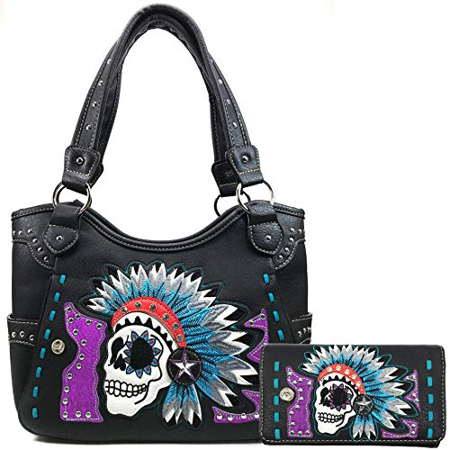 Embroidered Tribal Chieftain Sugar Skull Day of the Dead Punk Art Concealed Carry Tote Purse Wallet Set (Purple)