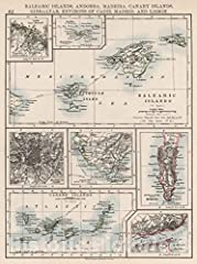 World Atlas | 1906 Balaeric Islands, Andorra, Madeira, Canary Islands, Gibraltar, Environs of Cadiz, Madrid, and Lisbon.        We print high quality reproductions of historical maps, photographs, prints, etc. Because of their historic...