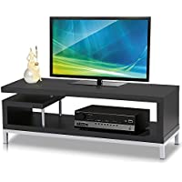 TV Stand Console Media Cabinets Home Entertainment Center with Steel Leg for 32-55, Black Wood
