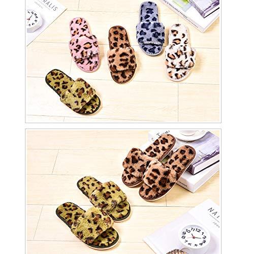 Scarpe Di Artificiali Casa Peluche Donna Leopardo D Sandali Con Morbidi Comodo Stampa Piatti Pantofole Da xwnAHTBqCO