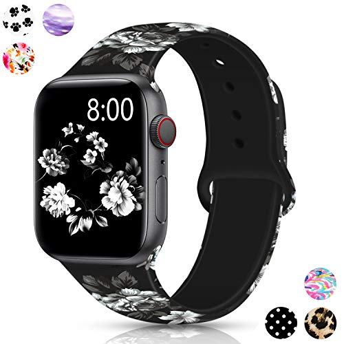 (Merlion Compatible with Apple Watch Band 38mm 42mm 40mm 44mm for Women/Men,Silicone Fadeless Pattern Printed Replacement Floral Bands for iWatch Series)