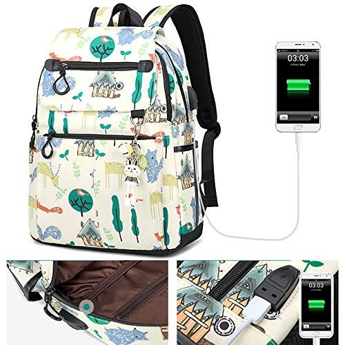 HBJP HBJP HBJP Schulrucksack Polyester-Rucksack Wilde High-School-Schultertasche Multi-Größe USB Rucksack (Farbe   Weiß, größe   A) B07P3T2P96 Daypacks eine breite Palette von Produkten 9fdb04