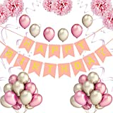 Pushingbest Birthday Party Decorations for Girls and Boys, Happy Birthday Bunting Banner with 10PCS Latex Balloons(5 x Pink, 5 x White),6PCS Tissue Paper Pom Poms,1PCS Happy Birthday Garland