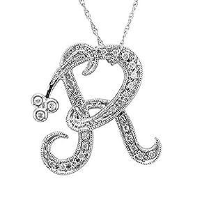14k White Gold Alphabet Initial R Diamond Pendant Necklace (0.12 Carat)