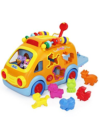 KONIG KIDS Happy Animal Bus with Music and Lights Learning Toys for Baby Toddler by KONIG KIDS