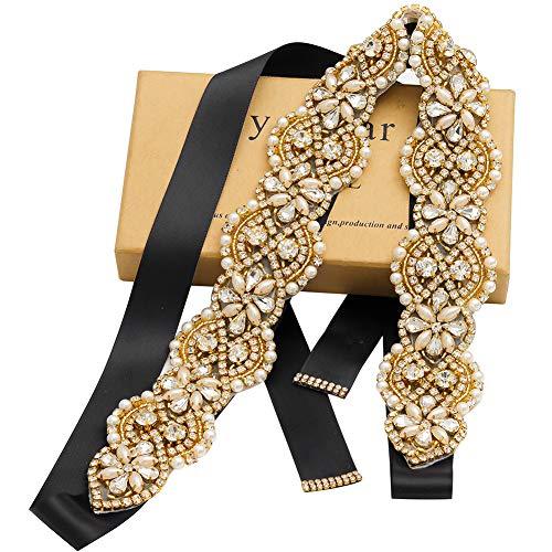 Yanstar Wedding Bridal Belts In Gold Rhinestone Crystal Pearl With Black Sash For Wedding Dress Prom Gown-17.7In1.6