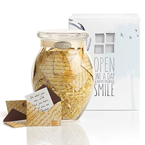 KindNotes Glass Keepsake Gift Jar with Friendship and Inspirational Messages - Inspirational Scripts