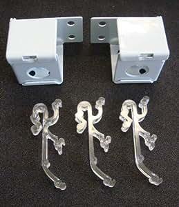 """2QTY: 1""""Mini estor Kits de montaje: Metal soportes + Clip de cama doble/blanco"""