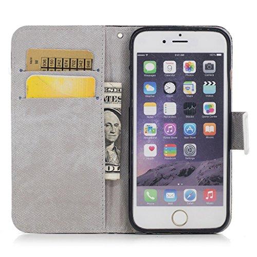 iPhone 6 Plus / 6S Plus Coque,Fleurs uniques Portefeuille Fermoir Magnétique Supporter Flip Téléphone Protection Housse Case Étui Pour Apple iPhone 6 Plus / 6S Plus + Deux cadeau