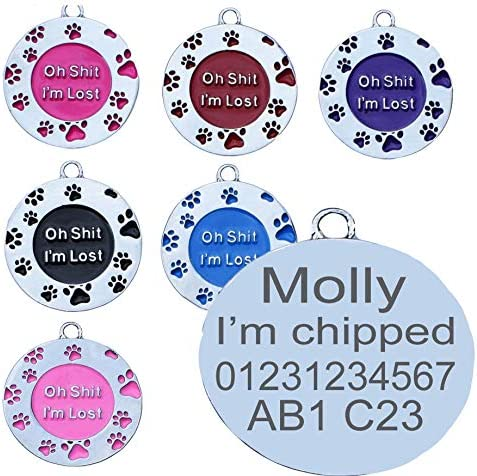 STAINLESS OH SHIT I'M LOST PAW ROUND DISC SHAPE ENGRAVED THICK BRASS METAL ID NAME PERSONALISED PET DOG CAT TAG TAGS (Purple)
