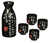 Happy Sales HSSS-PMB07,  5 Pc Sake set Calligraphy Black & White