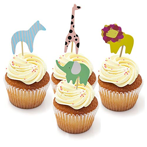 HZOnline Cupcake Cake Muffin Toppers Wild Animals Zoo Lion Elephant Giraffe Zebra Baby Shower Food Fruit Picks Boys' Birthday Party Supplies (48PCS)