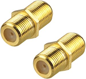 VCE 2-Pack F-Type Coaxial RG6 Cable Connector Gold Plated,Cable Extension Adapter Connects Two Coaxial Video Cables