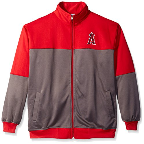 MLB Los Angeles Angels Men's Poly Fleece Yoked Track Jacket with Wordmark Logo, 3X/Tall, Red/Gray