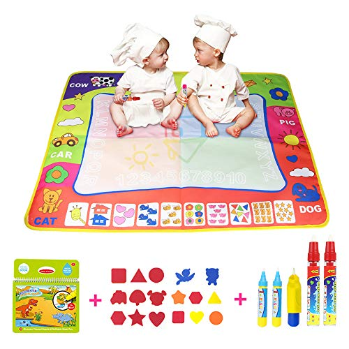 Coolplay 4 Color Children Water Drawing Mat Board and Dinosaur Drawing Book with 5 Water Magic Drawing Pens and 17 Shape's Molds Kids Educational Toy Gift ()