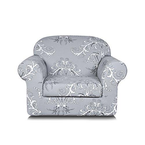 TIKAMI 2-Piece Spandex Printed Fit Stretch Sofa Slipcovers (Chair, Gray)