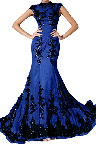 Applicazione Fest sera da Pizzo vestito Elegante blu chiffon Donna abito royal Mermaid lungo 54 ressing ivyd qg8H7wAIq