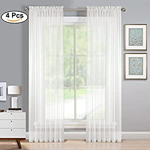 PONY DANCE 95 Inches Sheer Curtain Panels - Beautiful & Soft Rod Pocket Design Sheer Window Treatments for Villa/Apartment/Hotel in Solid Pure White by, 60-inch by 95-inch, 4 Packs