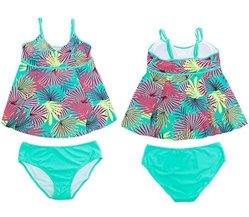 Aivtalk Bañador Traje de Baño de Dos Piezas Estilo de Vestido con Tirantes y Braga Beachwear Swimwear de Tamaño Grande para Mujer Azul Pálido