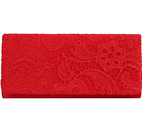 Bags Bridal Party Clutch Evening And Elegant Handbag For EULovelyPrice Fashion Red Lace Floral Wedding Women's Purse 0S8gqw1R