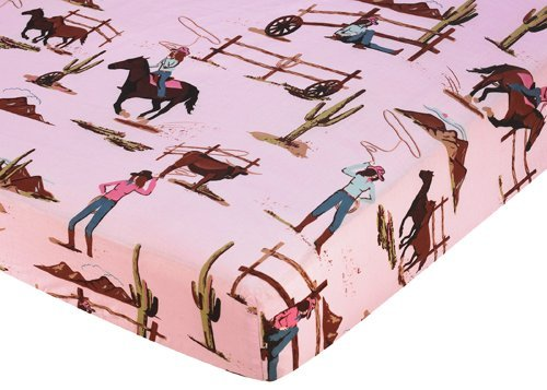 Sweet Jojo Designs Western Cowgirl Fitted Crib Sheet for Baby and Toddler Bedding Sets - Cowgirl Horse Print -