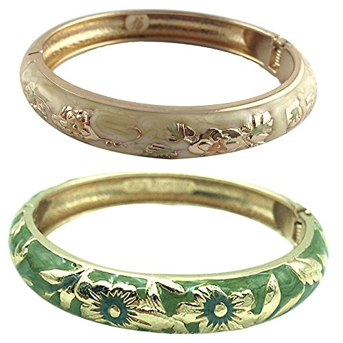 UJOY Women's Flower Cloisonne Bracelet Party Jewelry Bangle Sets 2PCS Zinc Alloy Gift Box 55A83-55A103 yellow and green ()