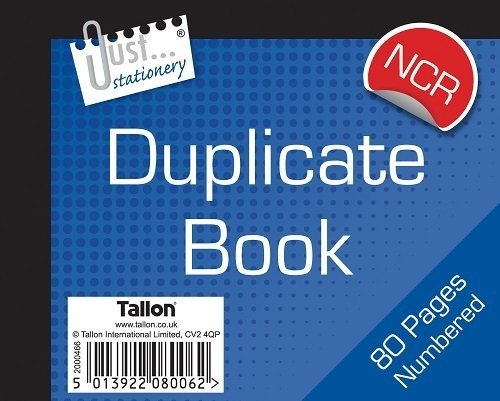 numbered duplicate receipt book half size - no carbon required (NCR) Tallon 8006