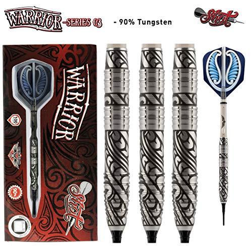 Shot! Darts Warrior 3-Soft Tip 20gm Dart Set-Centre Weighted-90% Tungsten Barrels
