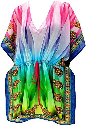 - La Leela Chiffon Digital HD Print Cruise Cardigan Cover up OSFM 14-28 [L-4X] Multicolor_3695