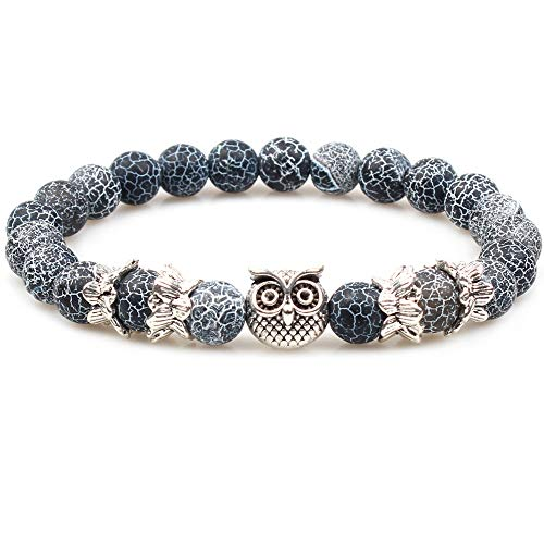 Weelovee Flying Owl Nature Agate Stone Beaded Bracelet Unisex Charm Energy Balance Stretch Jewelry (6-7.5
