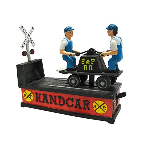 (Design Toscano Railroad Handcar Collectors' Die Cast Iron Mechanical Coin Bank, Full)