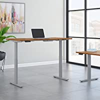 Move 60 Series 72W x 30D Height Adjustable Standing Desk in Natural Cherry with Cool Gray Metallic Base