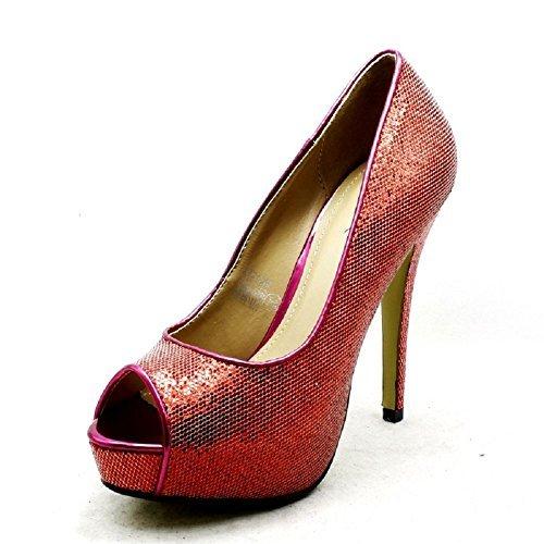 forme Mesdames Brillant Soirée Chaussures De Rouge Haut Peep Plate Talon q11rxwa