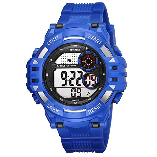 (Fxbar, Cool Design Men Sport Watch LED Screen Back Light Automatic Watch Military Army Stopwatch (Blue))