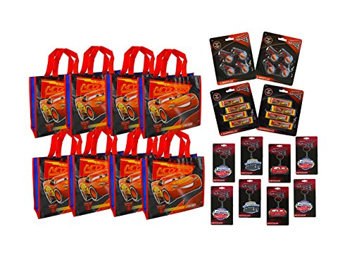 Disney Pixar Cars 32-PACK Party Set- Whistle, Harmonica, Keychain & Bag Party Favors, Goodie Bags