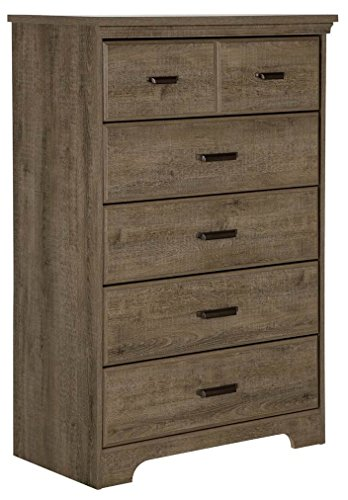 - South Shore Versa Collection 5-Drawer Dresser, Weathered Oak with Antique Handles