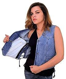 Leather Supreme Women\'s Denim Vest W Side Laces, Removable Concealed Carry Holster, 6 Pockets-Blue-3Xl
